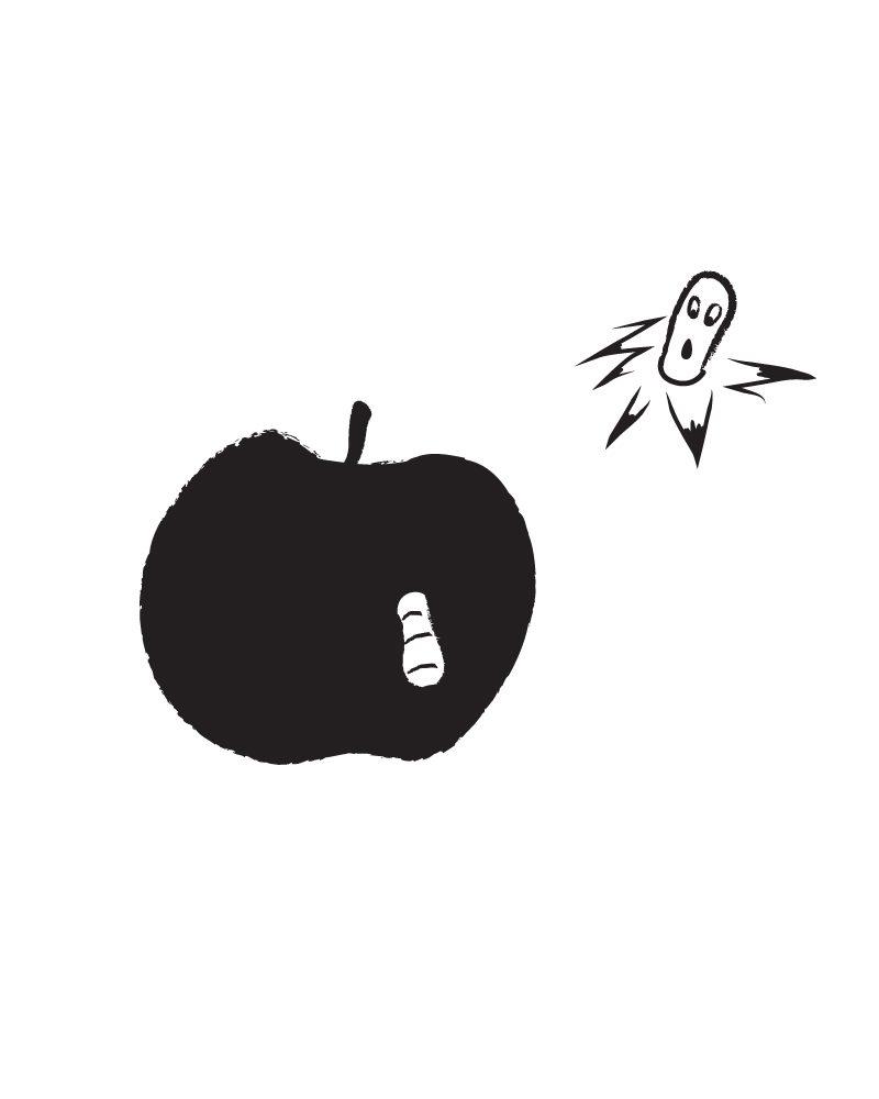 apple worm-close up