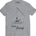love fishing men's grey t-shirt
