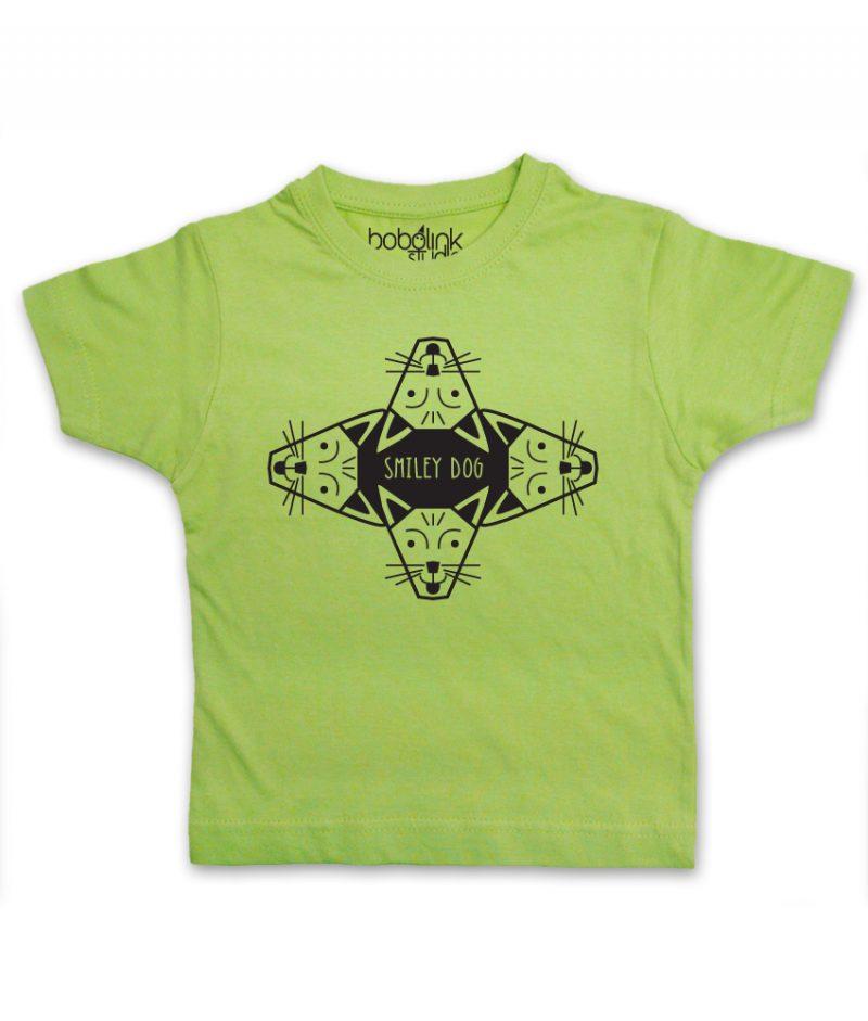 smiley dog kids green t-shirt