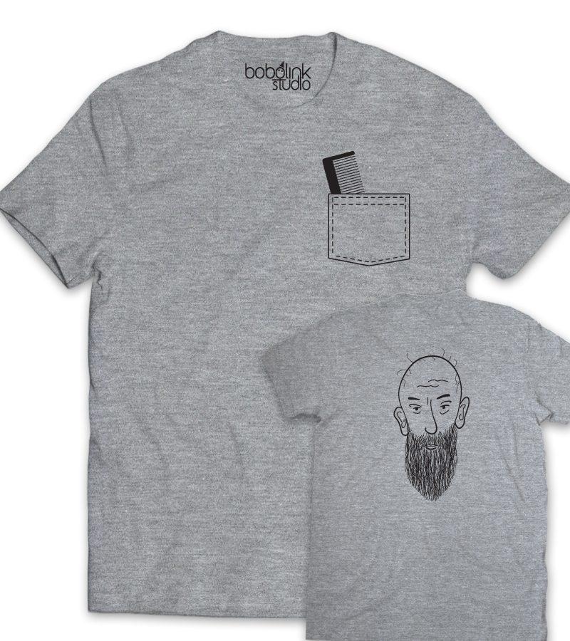 men with beard-grey mens t-shirt